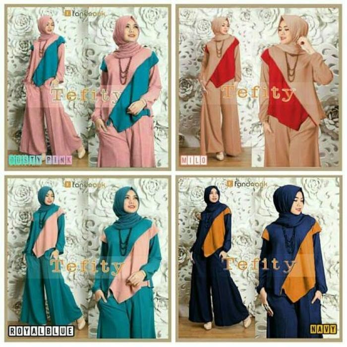 Baju Gamis Setelan 3in1 hijab Celana kulot Fashion Muslim Wanita