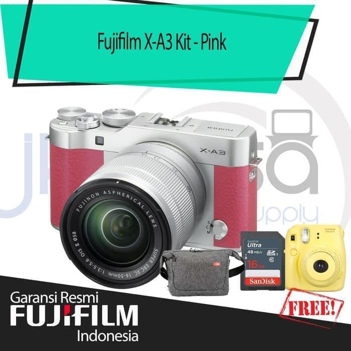 Fujifilm XA3 kit 16-50MM Mirrorless Digital Camera - Pink + Sirui Bag + fuji Instax mini 8 + Sdhc + Leather Case jklensa Garansi Resmi Fujifilm