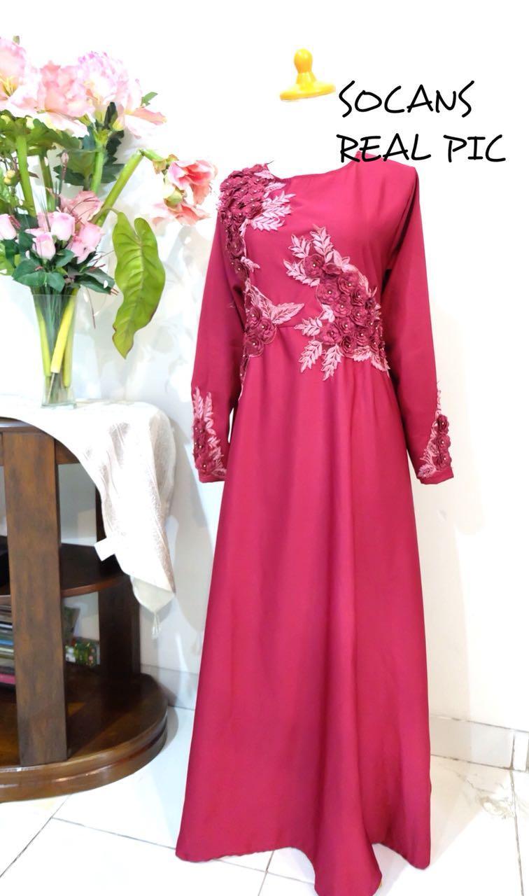 Cek Harga Baru Maxi Sophia Gamis Cantik Gaun Pesta Kondangan Lebaran Baju Koko Bordir Sandi Gambar Produk Rinci Long Dress Muslim Mewah Terkini