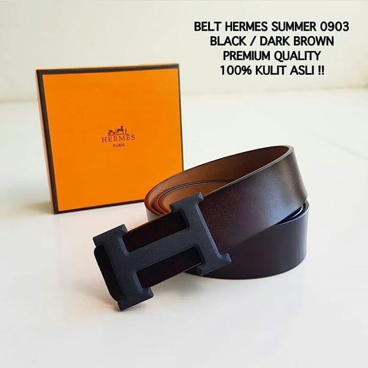 ikat pinggang Hermes Summer 0903 Dark Brown logo Black