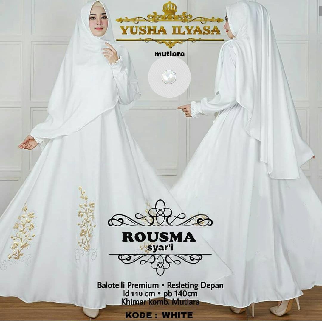 Fasion.Area - Rousma Syari Putih (Dapat Jilbab) / Dress Muslim / Gamis Wanita / Baju Muslim / Hijab Muslim / Fashion Muslim / Syar'i Muslim / Maxi Dress Lengan Panjang / Gamis Modern / Gamis Busui