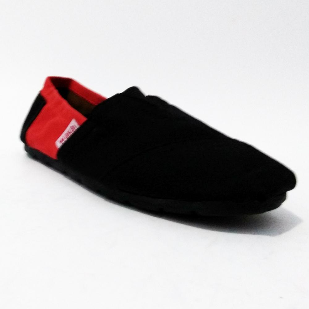 Review Just Cloth Sepatu Wakai Flatshoes Slip On Pria Wanita Hashigo Fashion 08 Detail Gambar Kombinasi Hitam Merah Terbaru