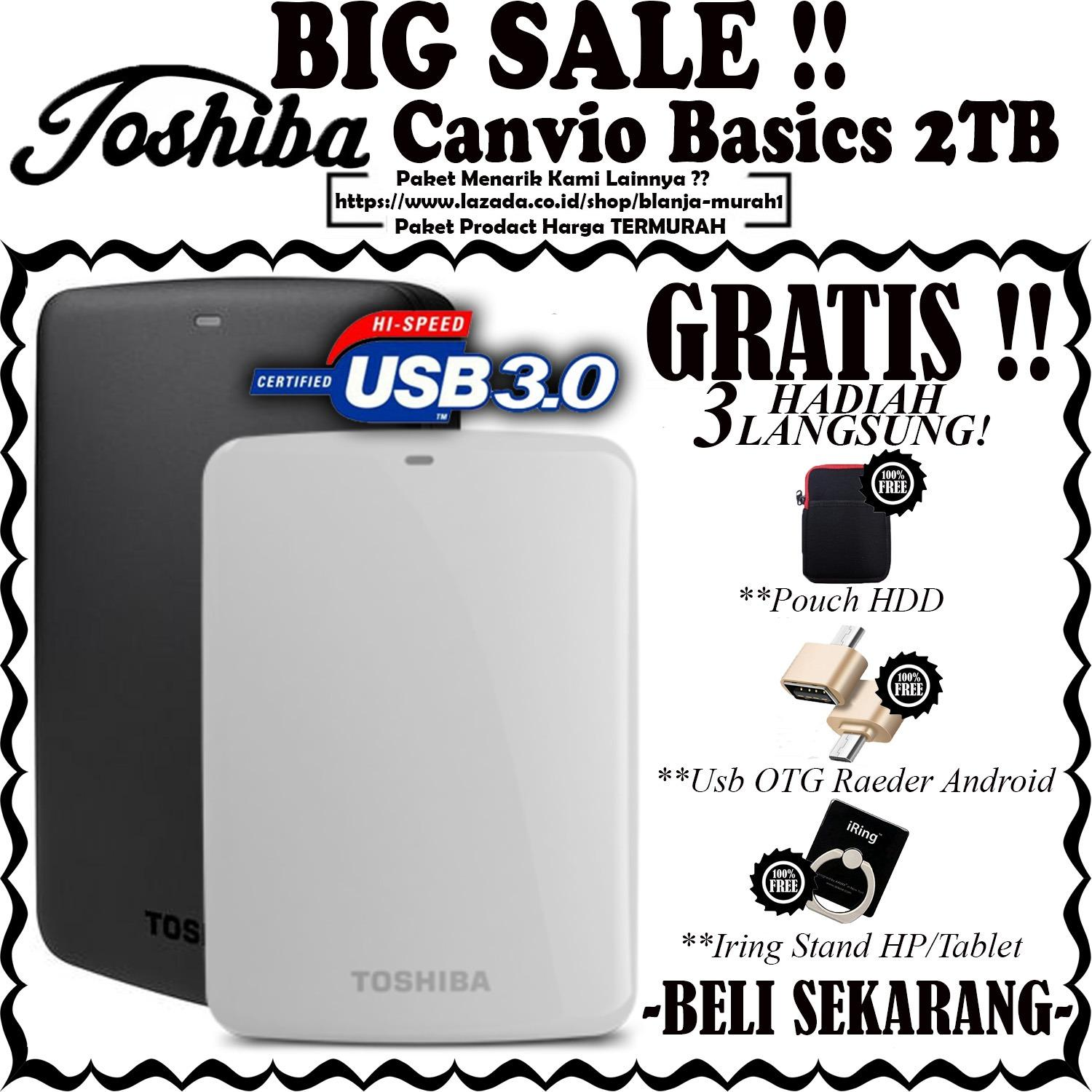 Toshiba Canvio Basics 2TB - HDD / HD / Hardisk Eksternal - GRATIS Pouch HDD Ext + Usb OTG Reader Android & Iring Stand HP/Tablet