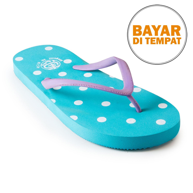 Megumi Polkadot Sandal Jepit - Aqua