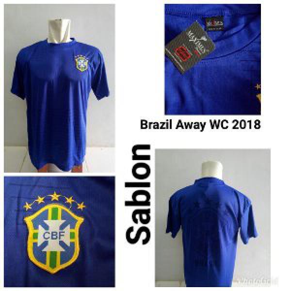 Jersey Baju Brasil Away Biru World Cup 2018 Kaos Kostum Jersy Jersi Bola Negara Brazil Piala Dunia WC 18 Grade Lokal ALLSIZE