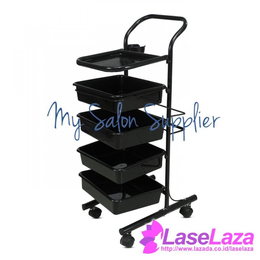 Rak Dorong Salon 4 Susun - Barber Troli - Trolley Alat Potong Rambut Terlaris