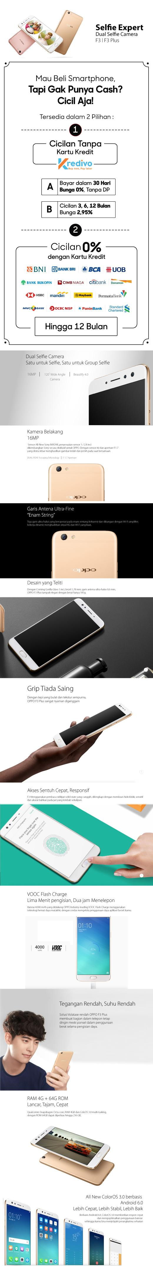 Fs Oppo F3 Plus Smartphone Dual Selfie Camera 4gb 64gb Gold Garansi Resmi Indonesia 1 Tahun Layar 6 Inch Cicilan