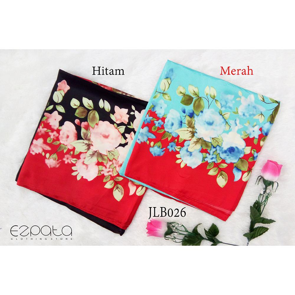 Ezpata Jilbab Bahan Maxmara Velvet / Segiempat Motif / Kerudung Segi 4 Satin / Square Silk Scarf Motif Bunga