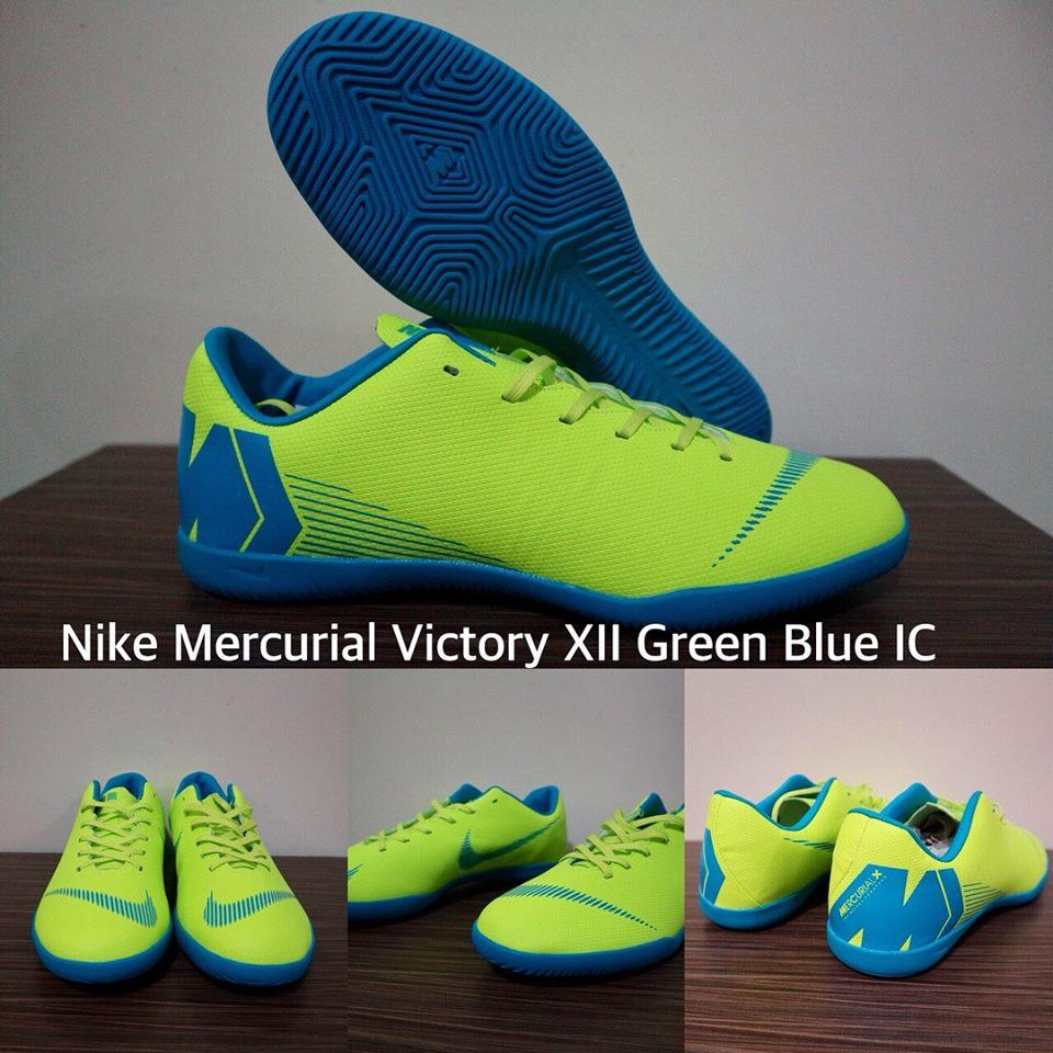 SEPATU FUTSAL NIKE MERCURIAL VICTORY XII GREEN BLUE IC + GRADE PREMIUM + BOX ORIGINAL !