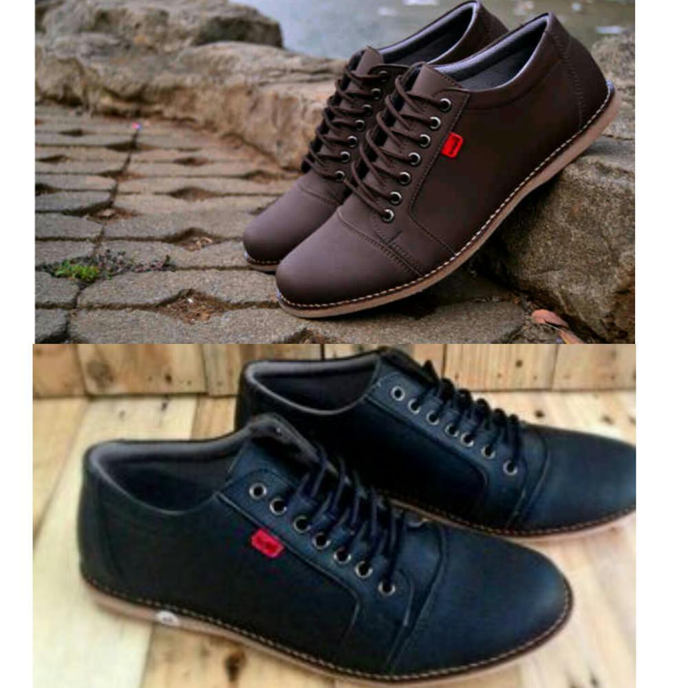 Promo Sepatu Kickers shaka casual tali warna hitam black dan coklat brown untuk santai jalan main kerja pria Fashion
