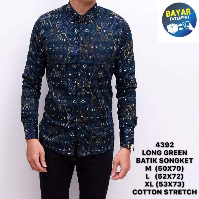 Harga Jual Model Baju Batik Pria Kombinasi Lengan Panjang