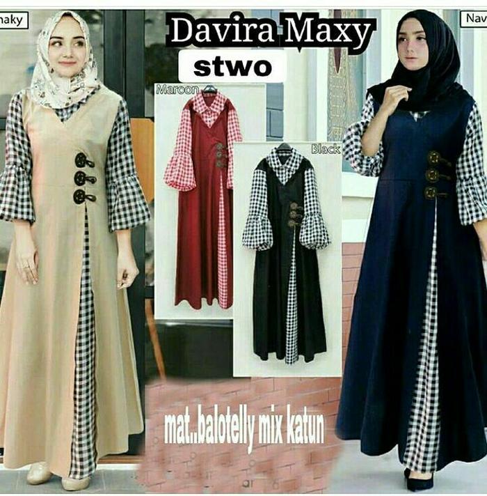 Gamis katun / Dress murah / Baju muslim wanita / Hijab : Davira Maxi-Gamis Masa Kini