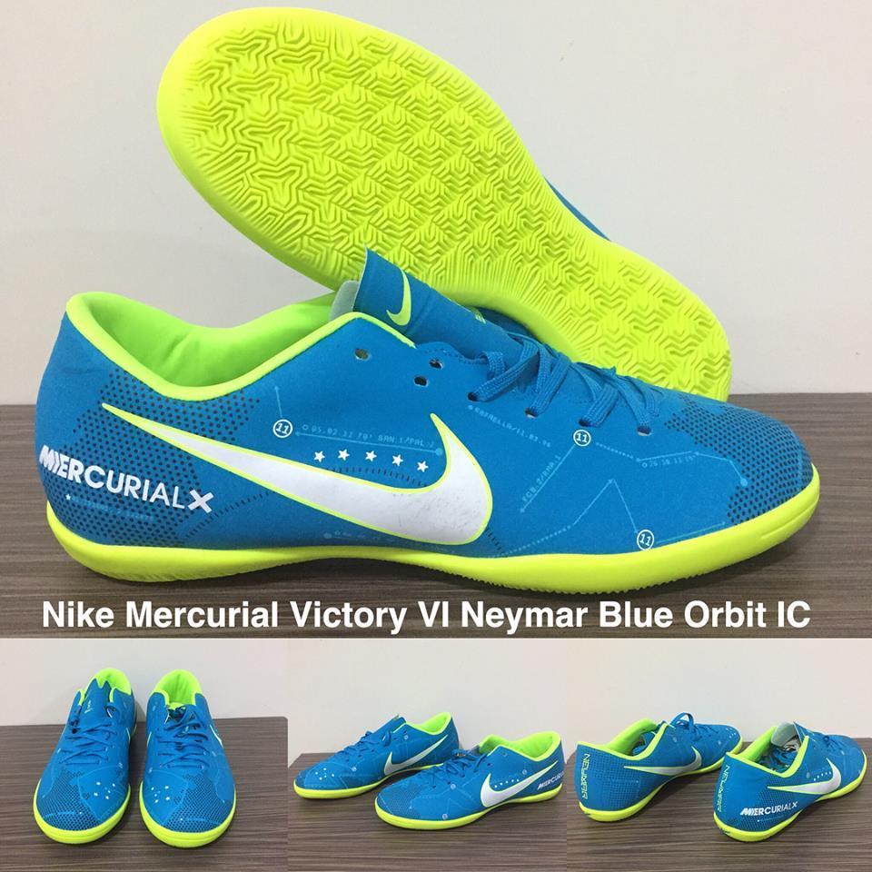 SEPATU FUTSAL  NIKE MERCURIAL VICTORY VI NEYMAR BLUE ORBIT IC + GRADE PREMIUM + BOX ORIGINAL !