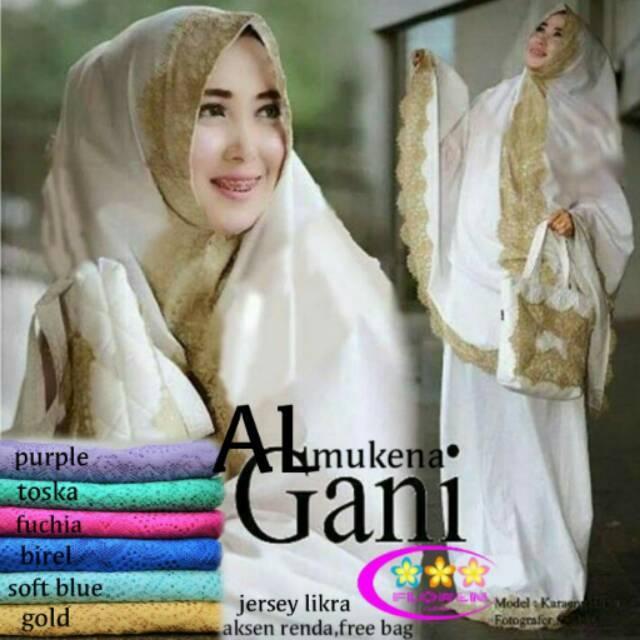 Mukena Al Gani ready semua warna putih ungu