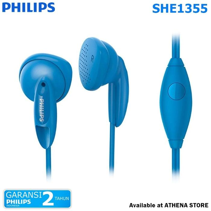PHILIPS SHE1355 In-Ear Headphone with Mic Bass Vents - Blue