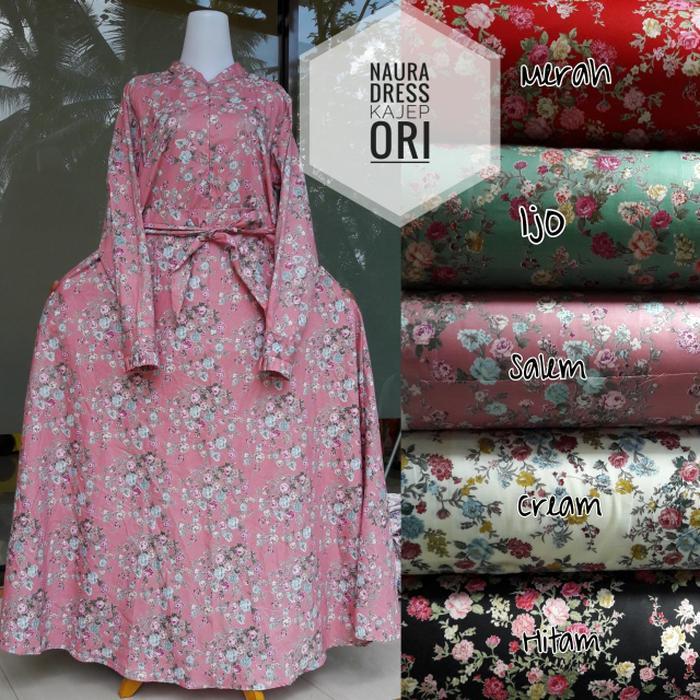 Gamis / Baju Muslim Katun Jepang Original Motif Naura (Ready)
