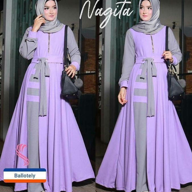 Baju Menyusui Murah / Dress Hijab Busui / Grosir Gamis : Nagita Dress  Ghtsyh