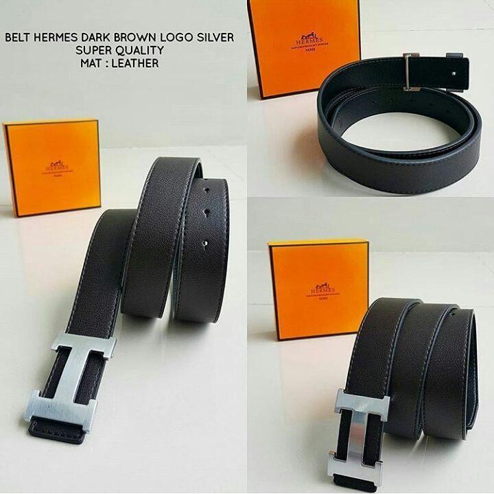 ikat pinggang Hermes Dark Brown Logo Silver
