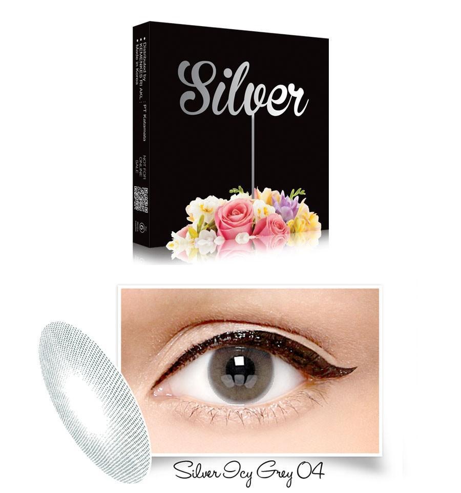 Exoticon X2 Ice Silver Softlens - 04 Silver Icy Gray + Gratis Lenscase