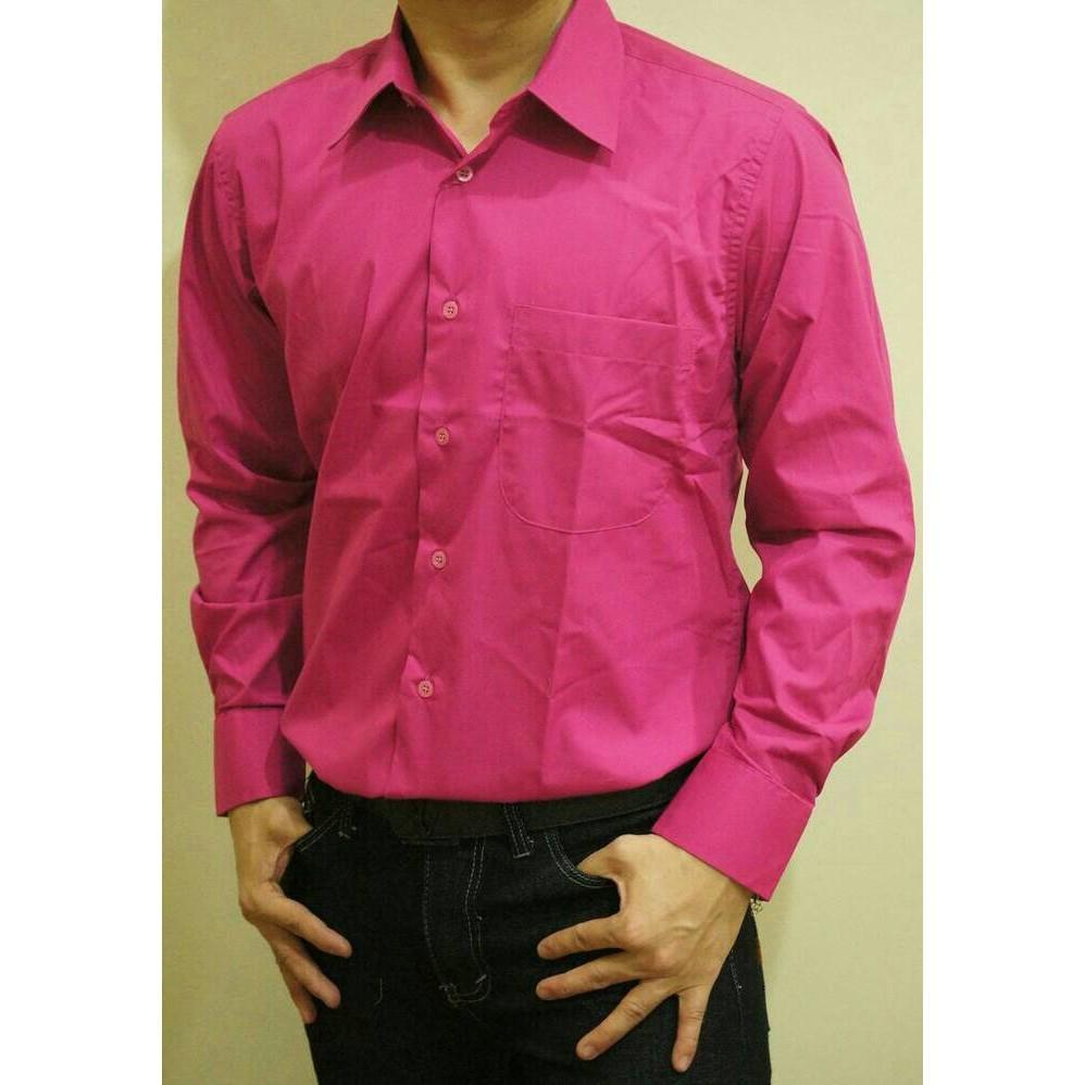 Fitur Kaos Polos Katun Combed 30s Lengan Panjang Longsleeve Warna Pria Merah Marun Kemeja Pink Tua Fanta