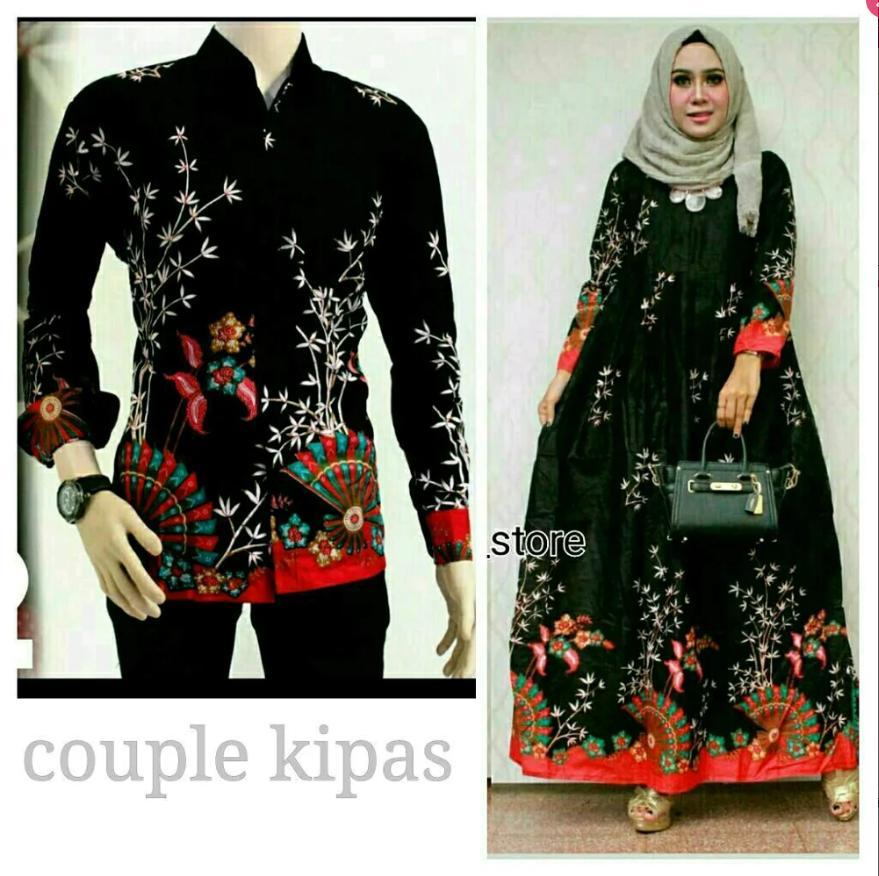 Baju Batik Couple Kemeja Lengan Panjang Dan Gamis Kipas Hitam Setelan Batik