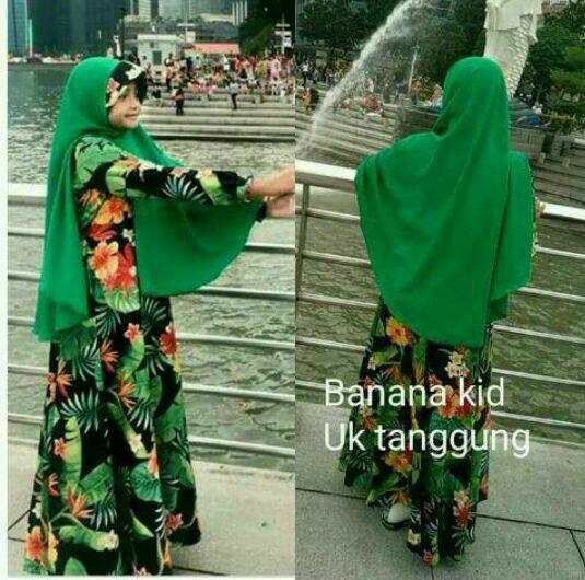 gamis/baju/dress muslim anak perempuan murah size 7-10tahun-bahan premium denim bordir By Nurul Collection