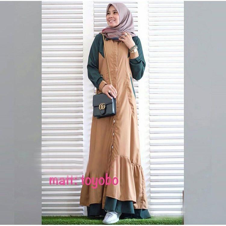 [Nura Milo GZ] Maxi Muslim Wanita Toyobo Coklat