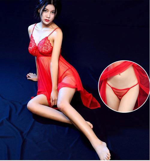Lingerie Sexy Dress  Seserahan Transparan Seksi  Merah