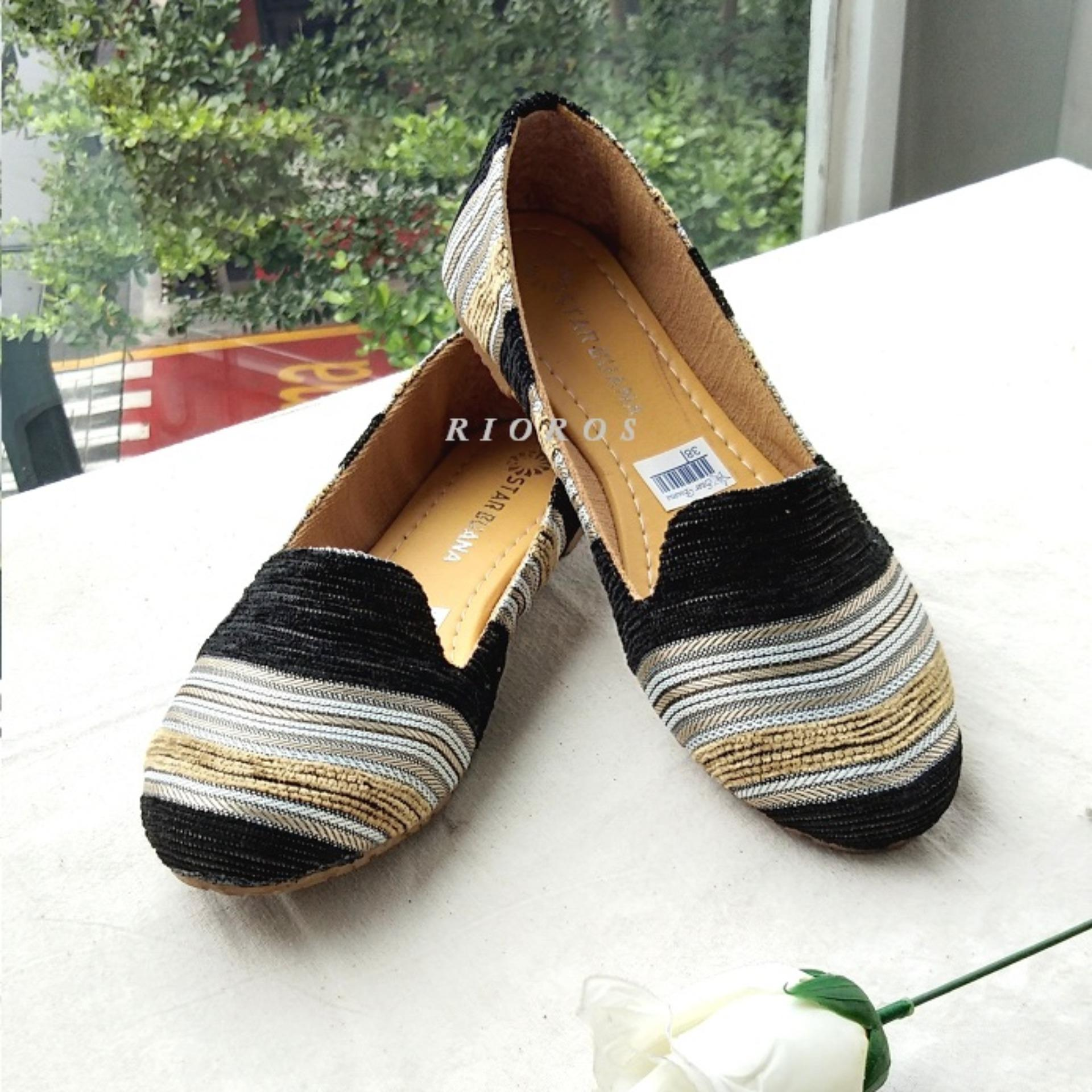 Rioros Sepatu Wanita Flat Shoes Alice Cantik – Hitam