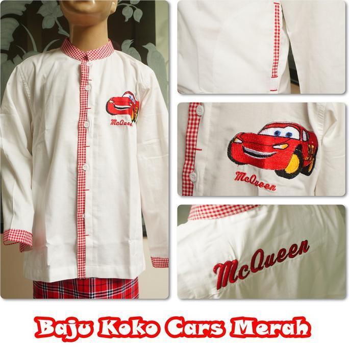 Promo Baju Koko Cars Merah L  Mukena Bali Anak Mukenah Katun Jepang Parasut Jumbo Polos Terusan
