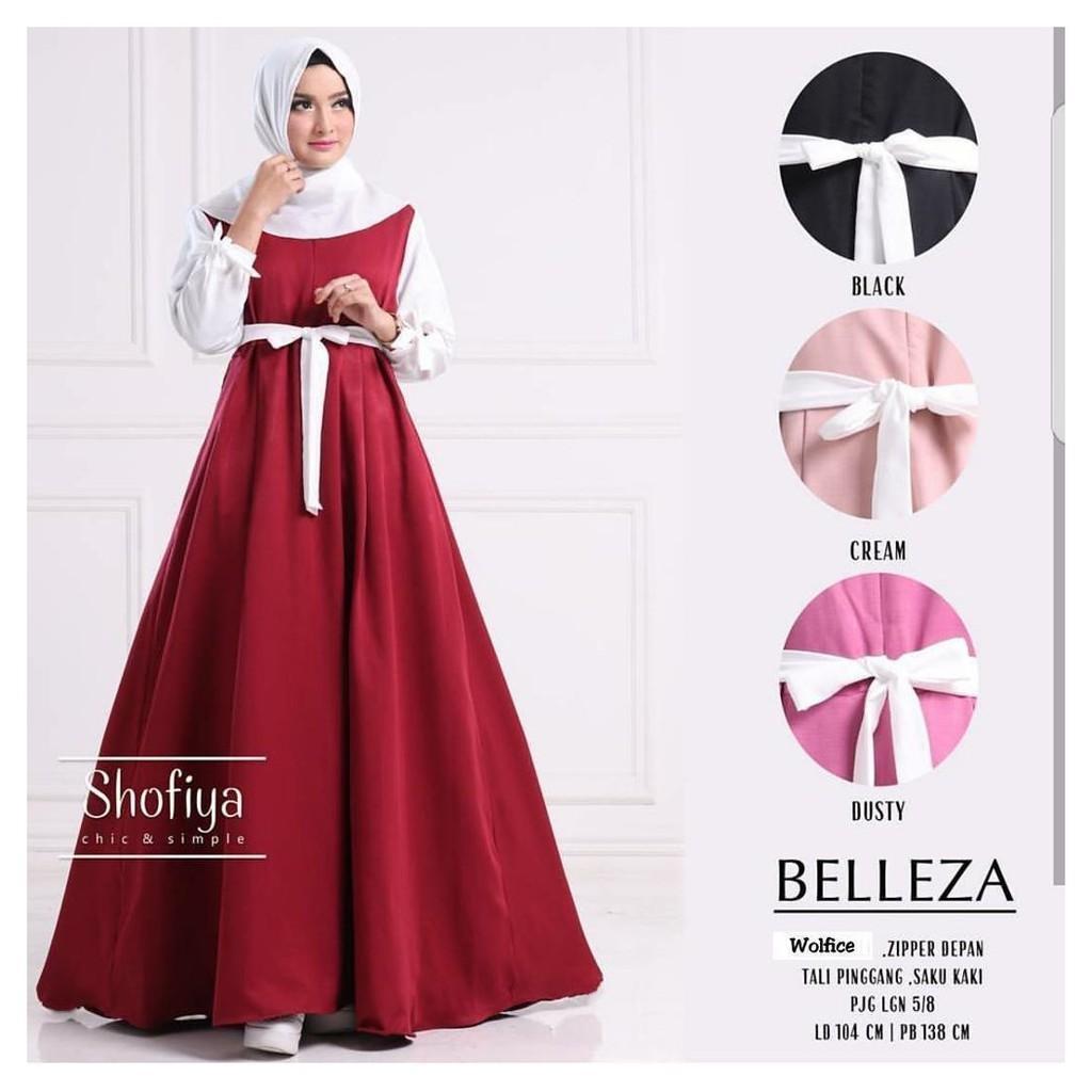 BELLEZA DRESS | GAMIS MUSLIM  / DRESS MURAH / PAKAIAN MURAH / PAKAIAN WANITA MURAH / DRESS JUMBO Pink