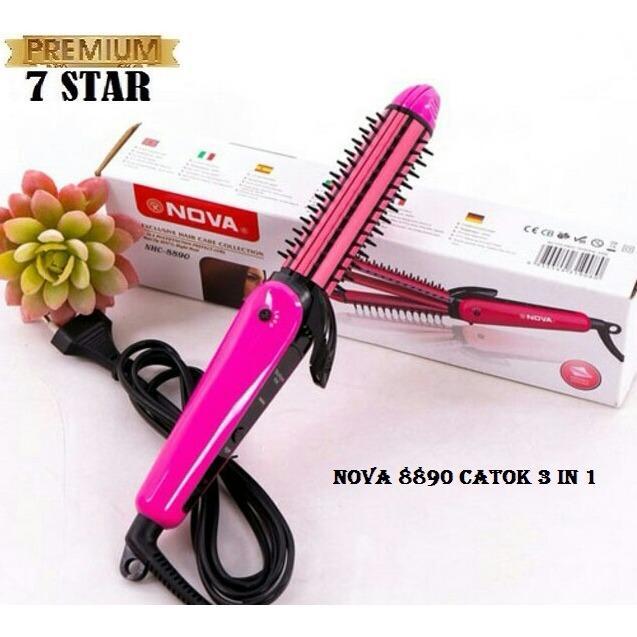 PREMIUM Nova Catokan Multifungsi 3 IN 1 Travel Nano Ceramic NHC 8890 Pelurus Pengeriting Dan Sisir Lurus Wavy Curly Hair Styling - Pink 1Pcs