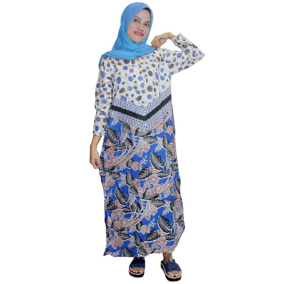 Longdres Batik, Daster Muslim, Pakaian Sehari-hari Wanita, Leher Kancing, Bumil, Busui (LPT001-07) Batik Alhadi