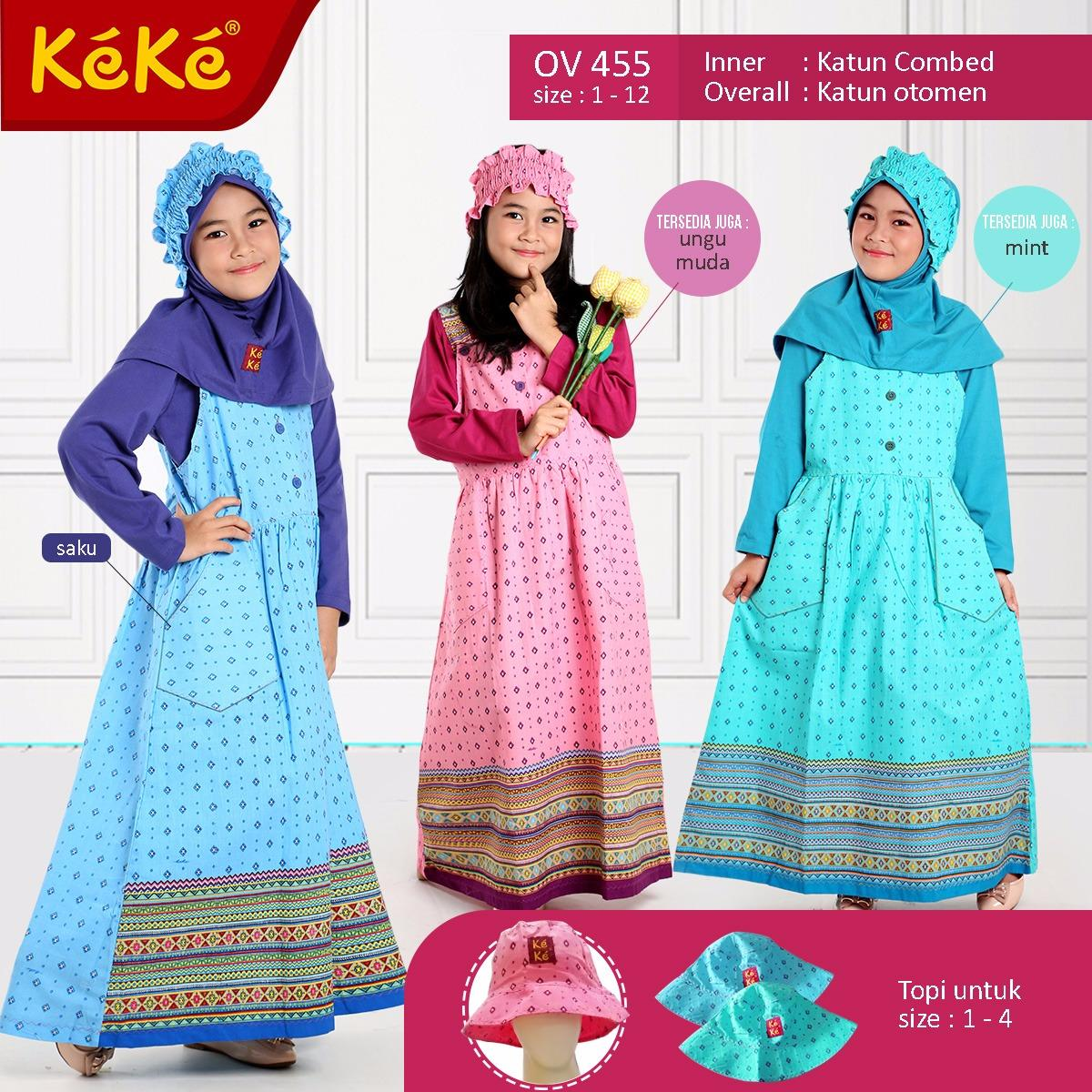 Qonitah Project Size 8 OV 455 Original Keke Busana Gamis Overall Anak Busana Muslim Branded