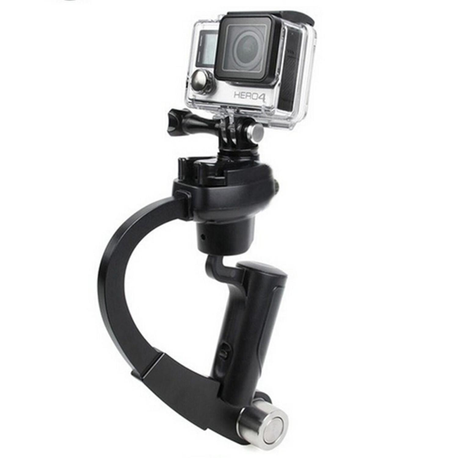Plastic Handheld Curve Stabilizer for GoPro/Xiaomi Yi/Xiaomi Yi 2 4K Super Smooth Gimbal Pegangan Handle Steadycams Aksesoris Kamera Aksi Action Camera Accessories Perlengkapan Audio Video Vlog Steady Comfortable Grip s2682 - Black