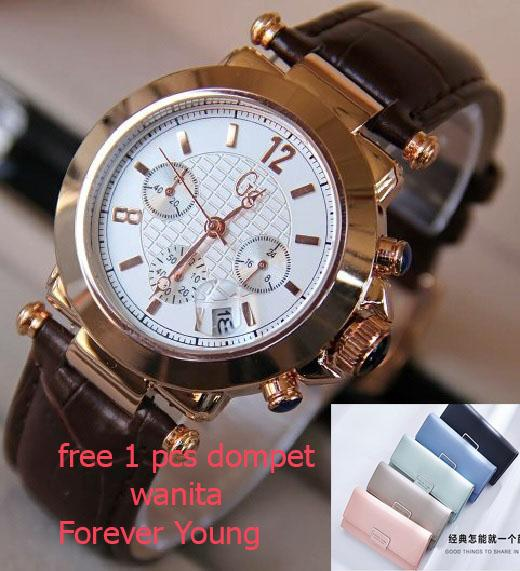 jam tangan wanita fashion  GC Watch collection-Hegner-swiss army-alba - tanggal - rose case gold - free box dan free 1 pcs dompet wanita
