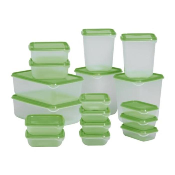 TOP SELLER IKEA Pruta, tempat makanan / toples / tupperware isi 17pcs - Hijau Tua