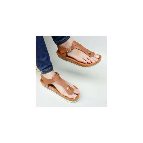 Sepatu Sandal Wanita Cantik Carvil Model Jepit Sanati Simple Coklat