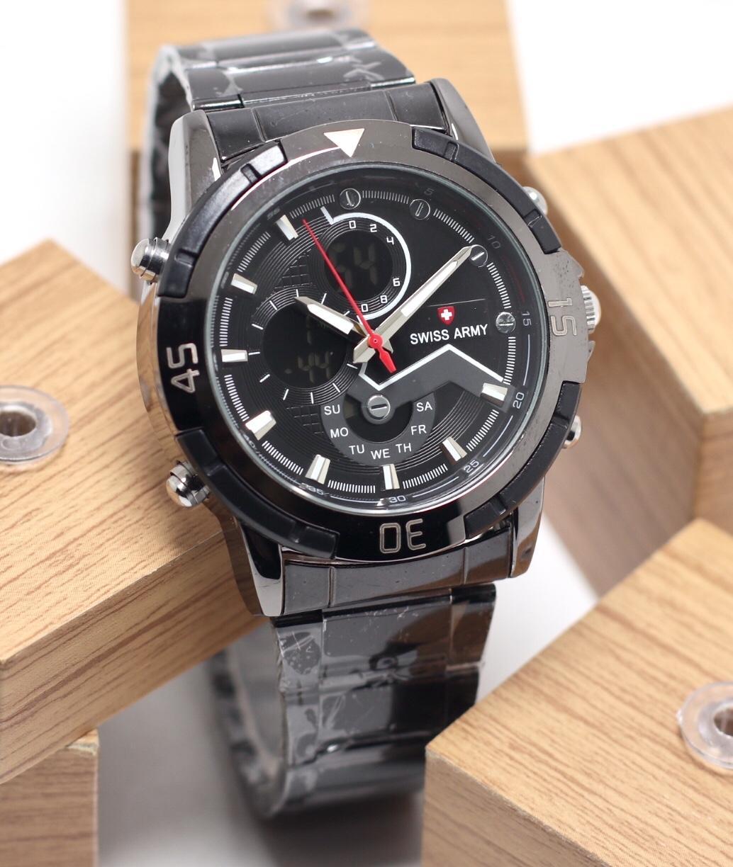 Swiss Army Indigo Dual Time Jam Tangan Pria Strap Rantai Daftar Sa 4557 Bc Bonus Jack