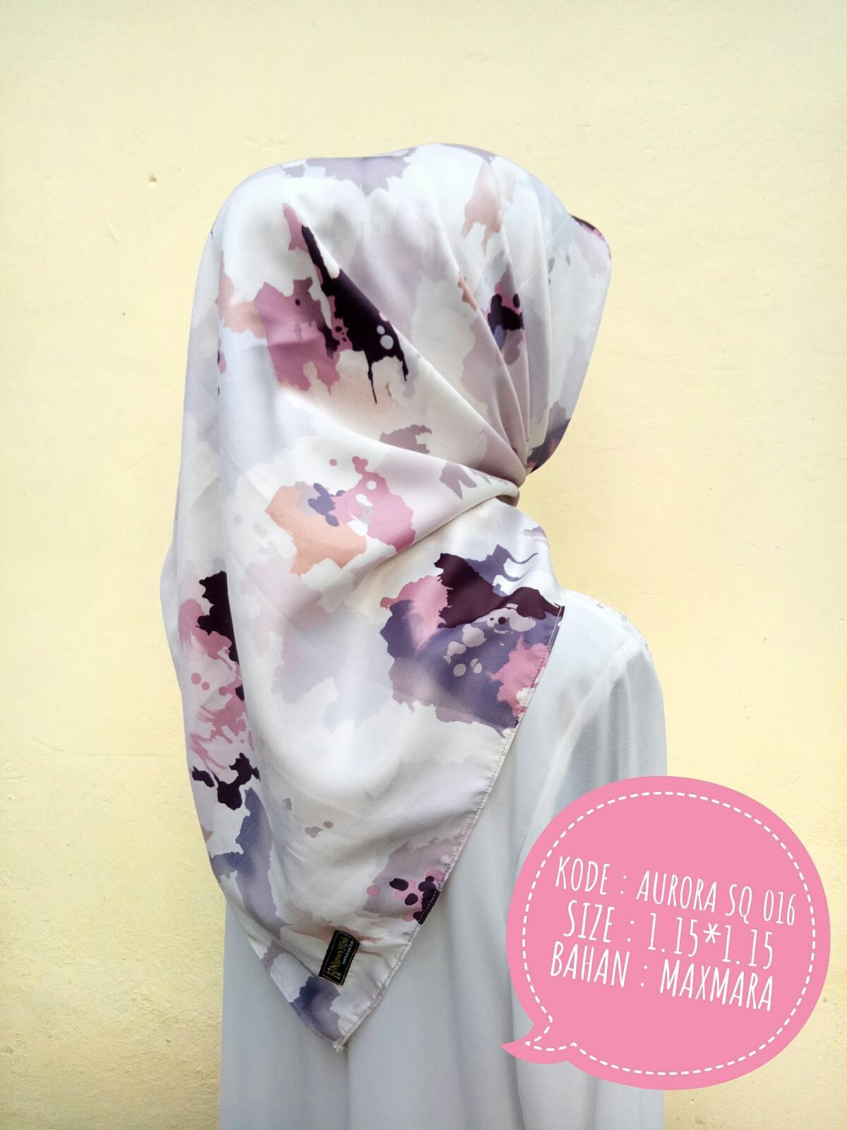 Aurora Madini SQ Jilbab Motif Segi Empat Segi Tiga Kerudung Kantor Pesta Premium Murah Kualitas Butik by Nggemesin Hijab