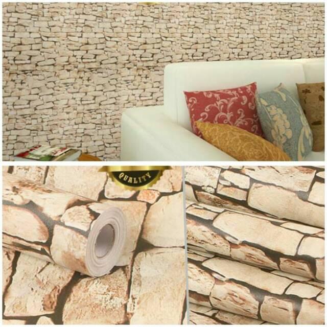 Wallpaper Dinding Murah Ruang Tamu Kamar Batu Coklat Minimalis Indah Terlaris Terbagus Elegan