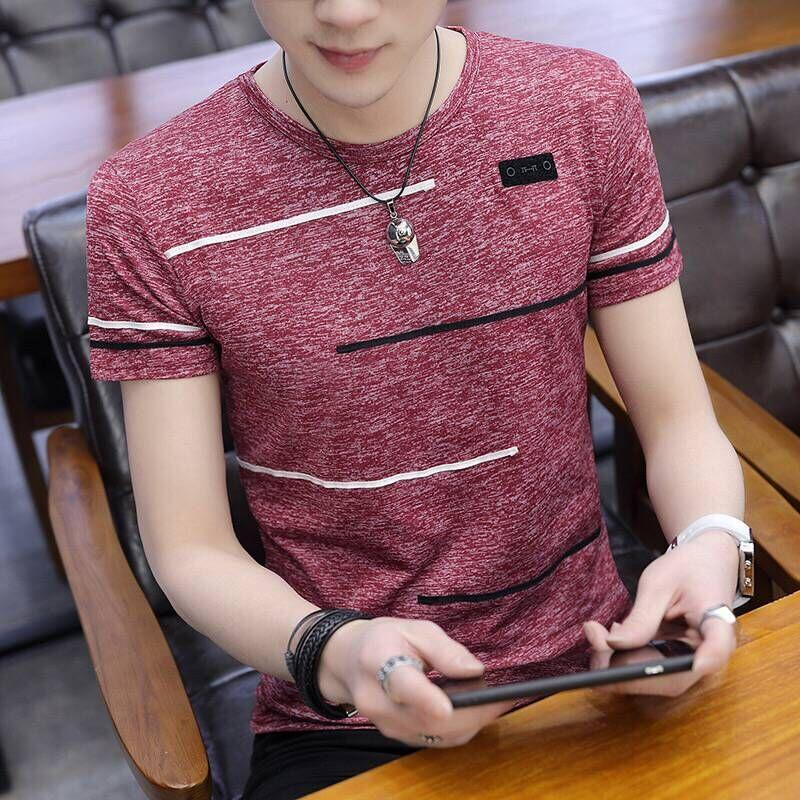 aecb62247 Crew Neck Men Summer Short Sleeve T-shirt Ultra-Thin a Chiffon Shirt Summer