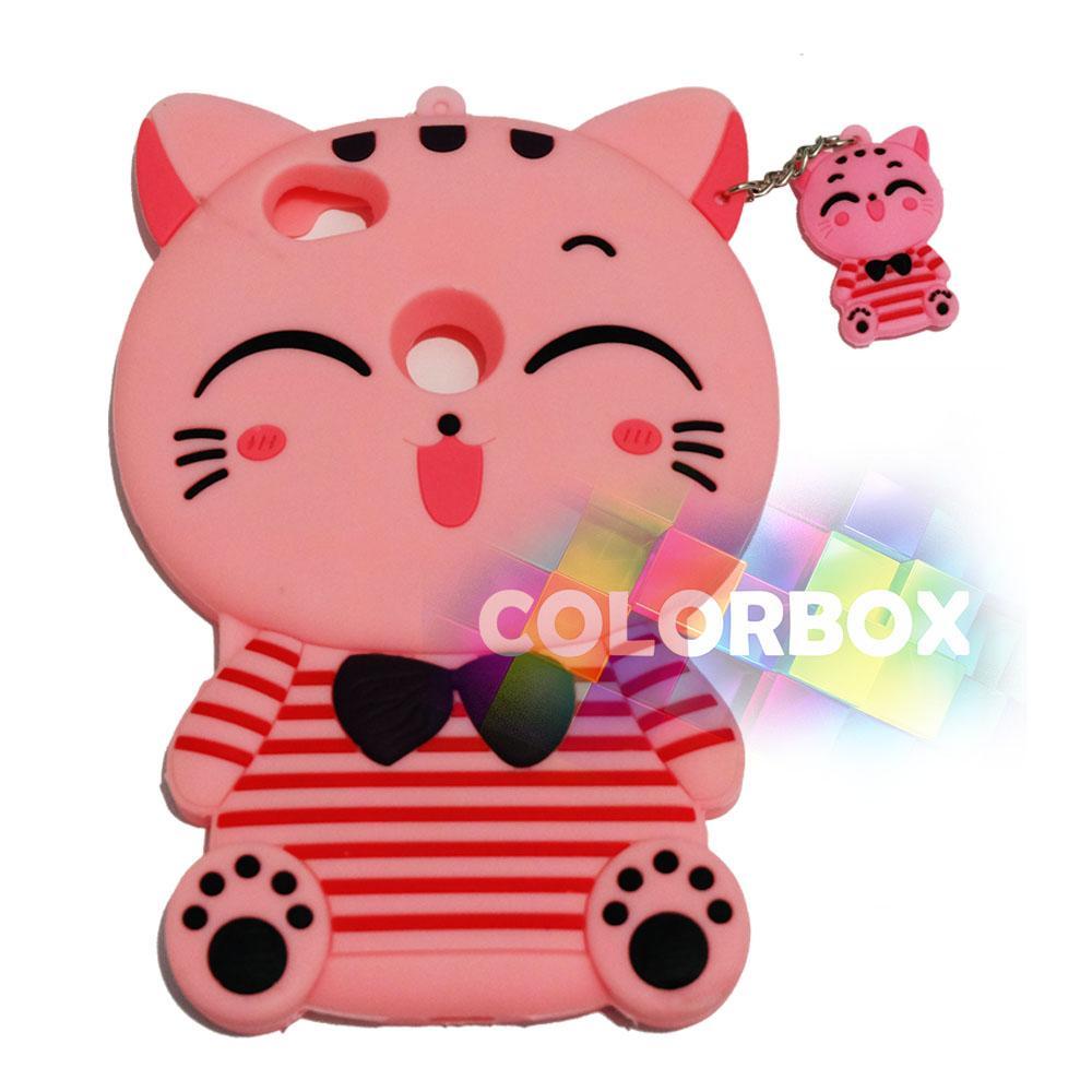 MR Soft Case 3D Xiaomi Redmi Note 5A Pink Cat Red Horizontal Line / Silikon 3D Xiaomi Redmi Note 5A / Softcase Kartun / Jelly Case / Case Hp Unik / Casing Silicone Xiaomi - Kucing Pink
