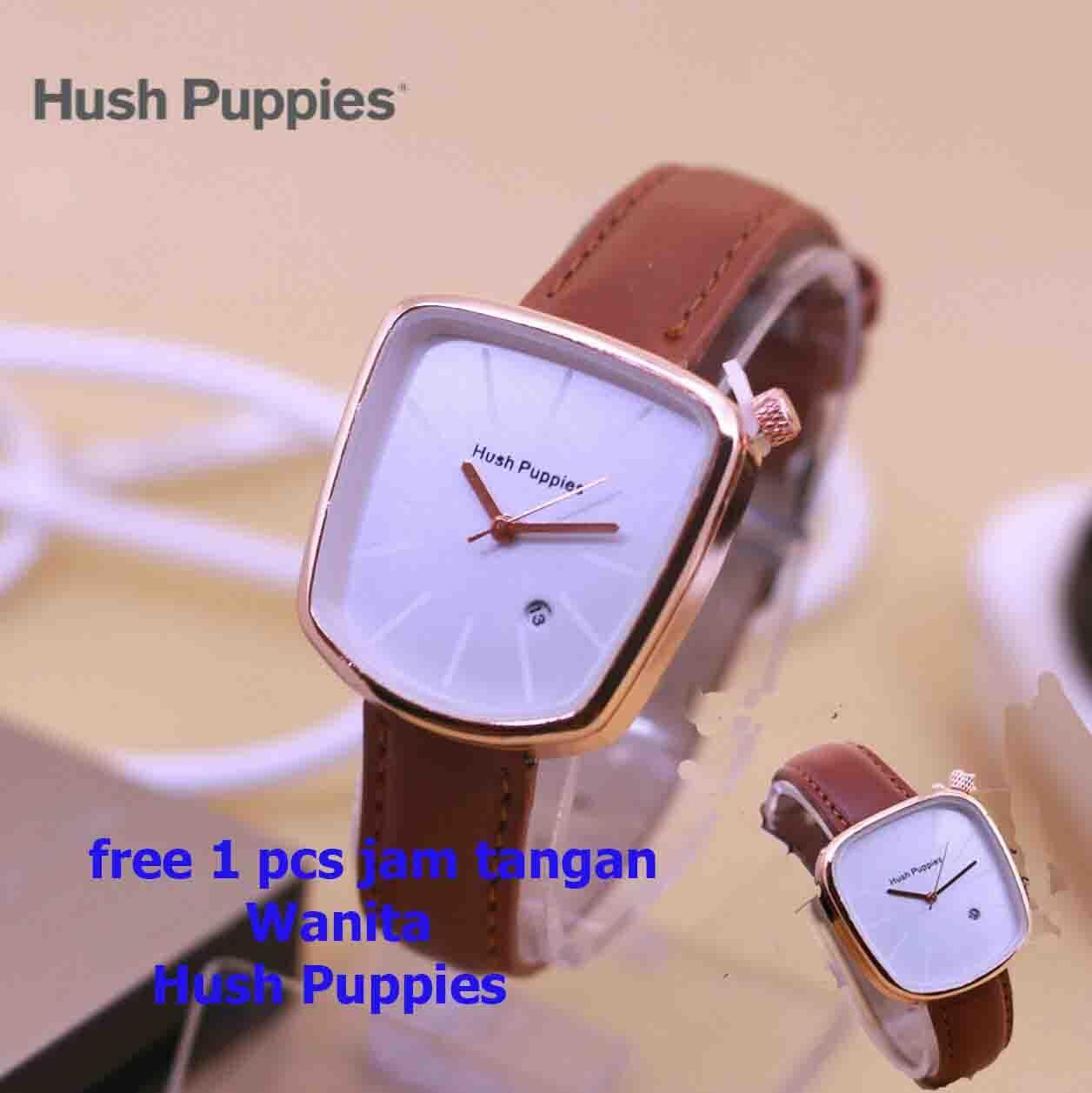 jam tangan wanita cantik-casual dan fashion hush pupies - abal-swiss army-fossil - tanggal - tali coklat tua free 1 pcs box dan free 1 pcs jam tangan hush puppies wanita