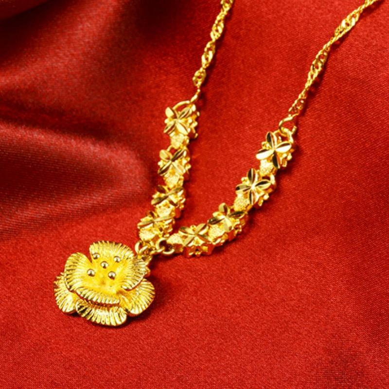 Fashion Luxury 24K Gold Flower Pendants Chain Necklace Wedding Jewelry Gifts for Women Emas Korea Kalung