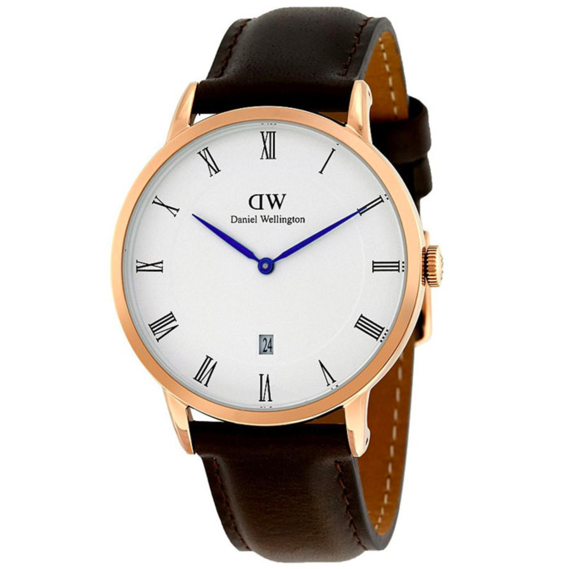 Daniel Wellington Jam Tangan Pria Wanita Strap Kulit 1103DW Dapper Rose Gold Dial Men Women Leather Watch - Brown