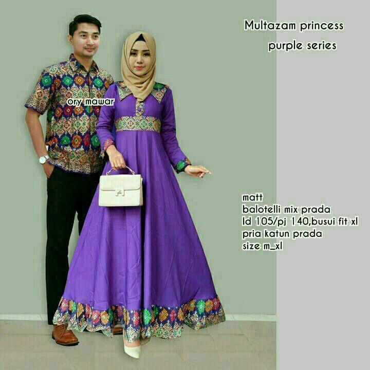 TERMURAH - Baju batik couple - baju muslim wanita terbaru 2018 - kebaya coupel Modern - Couple Batik - Batik Sarimbit - Batik Kondangan - Baju batik Multazam Princes Ungu