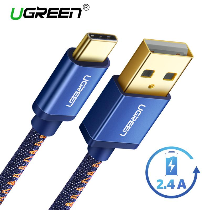 UGREEN 100CM Type C Cord Quick Charge for Samsung s8 Samsung s9 Huawei handphone hp Jeans Braided USB Type C to USB Fast Charger Cable Cord