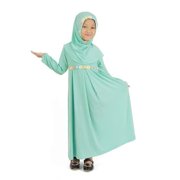 Terbaru Laris! Baju Muslim Gamis Anak Perempuan Hijau Mint, lucu imut Low Price!