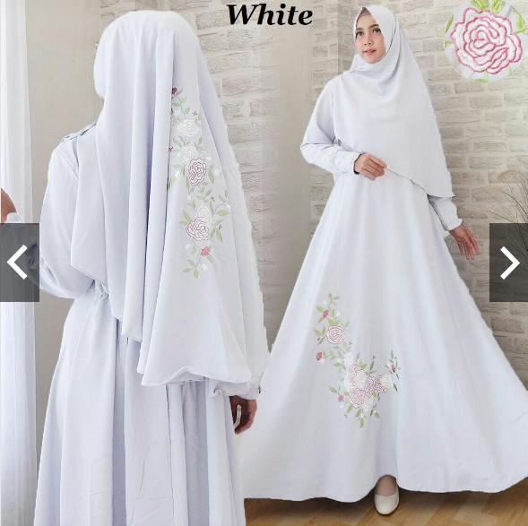 TotallyGreatShop Gamis Syari Pesta Bordir Premium Wolycrepe + Hijab Khimar Bergo Original Real Pic - Gamis Pesta Busui Terbaru Kekinian Mewah Elegan ...